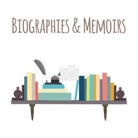 """Bookshelves  """"Biographies & Memoirs""""."""