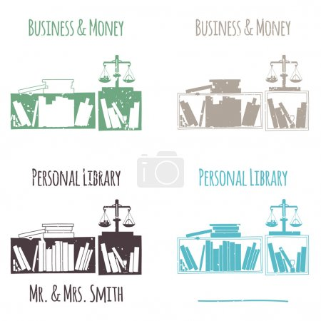 """Ex-Libris in the form of shelves with books. The category of """"Business & Money""""."""