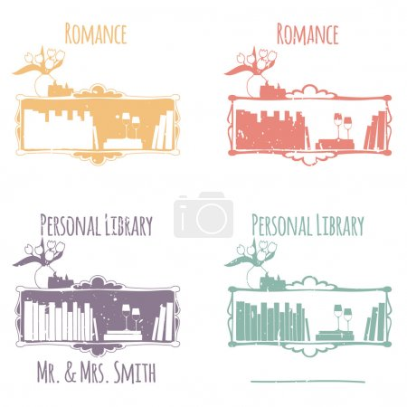 """Ex-Libris in the form of shelves with books. The category of """"Romance""""."""