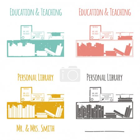 """Ex-Libris in the form of shelves with books. The category of """"Education & Teaching""""."""