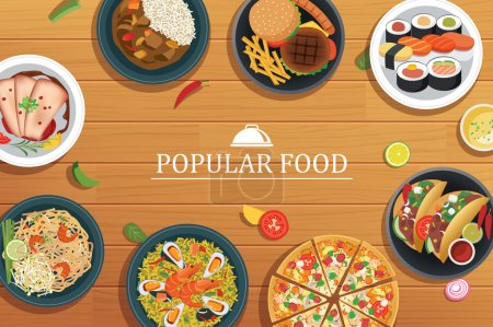 Illustration for Popular food on a wooden background.Vector popular food top - Royalty Free Image