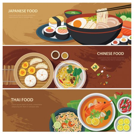 Illustration for Asia street food web banner , thai food , japanese food , chinese food flat design - Royalty Free Image