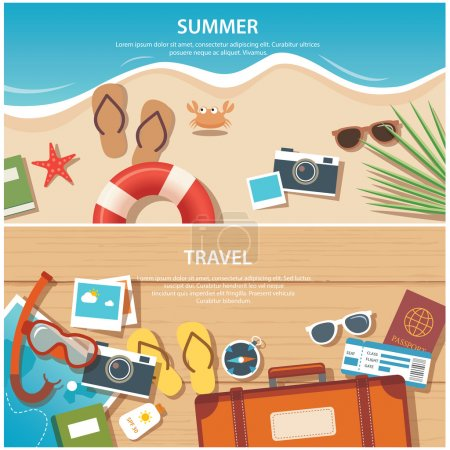 Illustration for Summer and travel flat banner template - Royalty Free Image