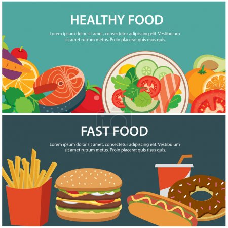 Illustration for Healthy food and fast food concept banner flat design - Royalty Free Image
