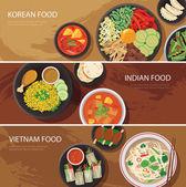 Asia street food web banner  korean food  indian food  vietnam food flat design