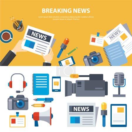 Illustration pour Médias et nouvelles bannières conception plate des éléments - image libre de droit