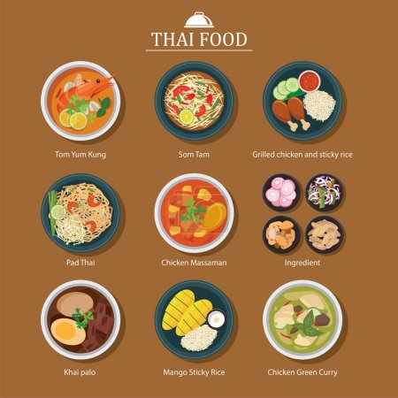 Illustration for Set of thai food icons - Royalty Free Image