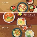 Thai food web banner flat design.som tam, tom yum ...