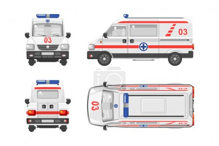Illustration for Set stock vector illustration isolated ambulance car top, front, side, back view flat style white background Element infographic, website, icon - Royalty Free Image