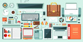 Set stock vector illustration isolated office supplies gadgets stationery on desktop in flat style white background element infographics websites icons games video Motion Design