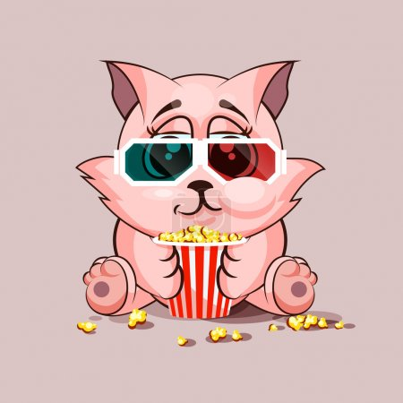 Illustration for Vector Stock Illustration Emoji character cartoon cat chewing popcorn, watching movie in 3D glasses sticker emoticon for site, infographic, video, animation, website, e-mail, newsletter, report, comic - Royalty Free Image