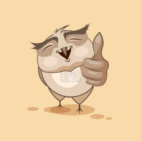 Illustration for Vector Stock Illustration isolated Emoji character cartoon owl approves with thumb up sticker emoticon for site, infographics, video, animation, websites, e-mails, newsletters, reports, comics - Royalty Free Image