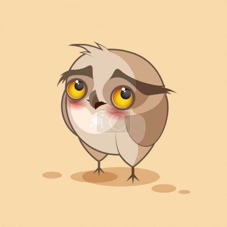 Illustration for Vector Stock Illustration isolated Emoji character cartoon owl embarrassed, shy and blushes sticker emoticon for site, infographics, video, animation, websites, e-mails, newsletters, reports, comics - Royalty Free Image