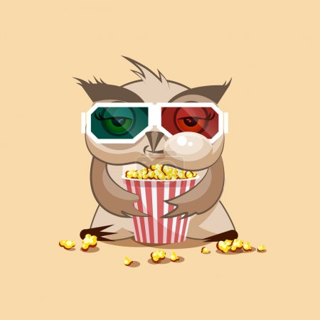 Illustration for Vector Stock Illustration Emoji character cartoon owl chewing popcorn, watching movie in 3D glasses sticker emoticon for site, infographic, video, animation, website, e-mail, newsletter, report, comic - Royalty Free Image