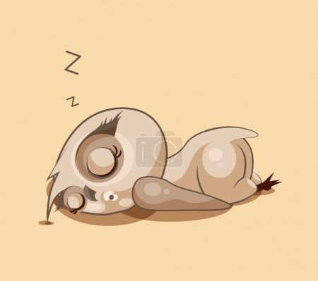 Illustration for Vector Stock Illustration isolated Emoji character cartoon owl sleeps on the stomach sticker emoticon for site, infographics, video, animation, websites, e-mails, newsletters, reports, comics - Royalty Free Image
