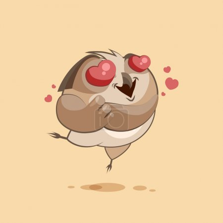 Illustration for Vector Stock Illustration, isolated Emoji character, cartoon owl in love, flying with hearts ,sticker  for site, infographics, video, animation, websites, e-mails, newsletters, reports, comics - Royalty Free Image