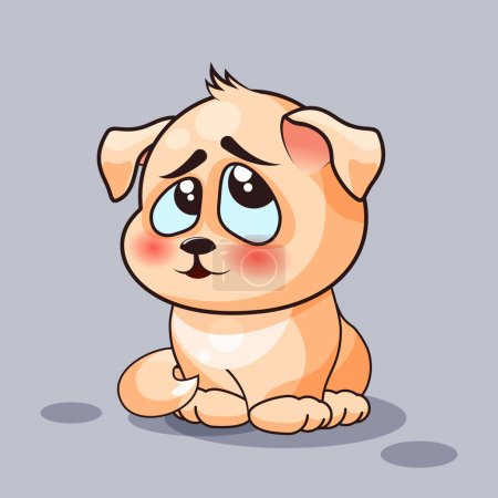 Illustration for Vector Stock Illustration isolated ,Emoji character ,cartoon dog embarrassed, shy and blushes  emoticon for site, infographics, video, animation, websites, e-mails, newsletters, reports, comics - Royalty Free Image
