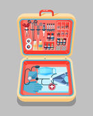 Set Stock vector illustration of medical supplies drugs pills tools clothing in medical suitcase in isometry flat style element for infographic website icon games motion design video