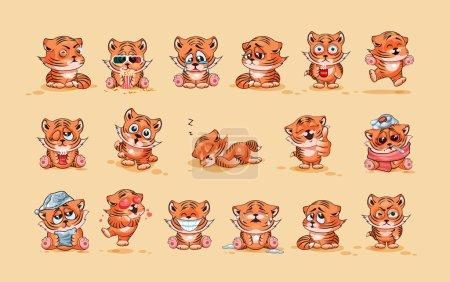Illustration pour Set Vector Illustrations de stock isolé personnage Emoji dessin animé Tiger cub autocollant émoticônes avec différentes émotions pour le site, infographies, vidéo, animation, site Web, e-mail, newsletter, rapport, bande dessinée - image libre de droit
