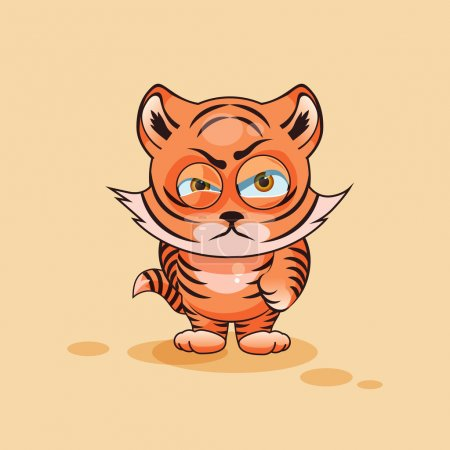 Illustration for Vector Stock Illustration isolated Emoji character cartoon Tiger cub sticker emoticon with angry emotion for site, infographics, video, animation, websites, e-mails, newsletters, reports, comics - Royalty Free Image