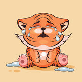 Vector Stock Illustration isolated Emoji character cartoon Tiger cub crying lot of tears sticker emoticon for site infographics video animation websites e-mails newsletters reports comics