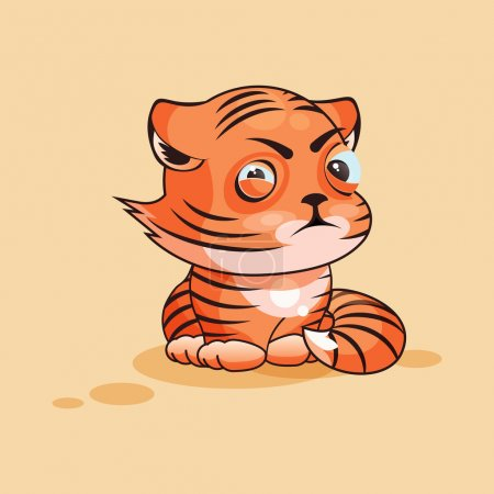 Illustration for Vector Stock Illustration isolated Emoji character cartoon Tiger cub squints and looks suspiciously sticker emoticon for site, infographic, video, animation, website, e-mail, newsletter, report, comic - Royalty Free Image