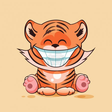 Illustration for Vector Illustration isolated Emoji character cartoon Tiger cub with huge smile from ear to ear sticker emoticon for site, infographic, video, animation, website, e-mail, newsletter, report, comic - Royalty Free Image