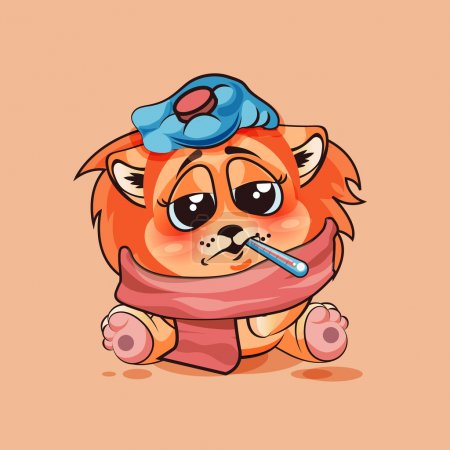 Illustration for Vector Stock Illustration isolated Emoji character cartoon Lion cub sick with thermometer in mouth sticker emoticon for site, infographic, video, animation, website, e-mail, newsletter, report, comic - Royalty Free Image