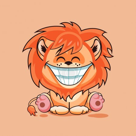 Illustration for Vector Illustration isolated Emoji character cartoon Lion cub with huge smile from ear to ear sticker emoticon for site, infographic, video, animation, website, e-mail, newsletter, report, comic - Royalty Free Image