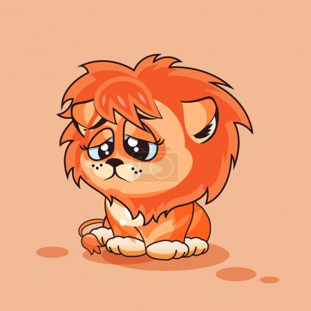 Illustration for Vector Stock Illustration isolated Emoji character cartoon Lion cub sad and frustrated sticker emoticon for site, infographics, video, animation, websites, e-mails, newsletters, reports, comics - Royalty Free Image