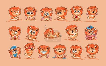 Illustration pour Set Vector Illustrations de stock isolé personnage Emoji bande dessinée Lion cub autocollant émoticônes avec différentes émotions pour le site, infographies, vidéo, animation, site Web, e-mail, newsletter, rapport, bande dessinée - image libre de droit