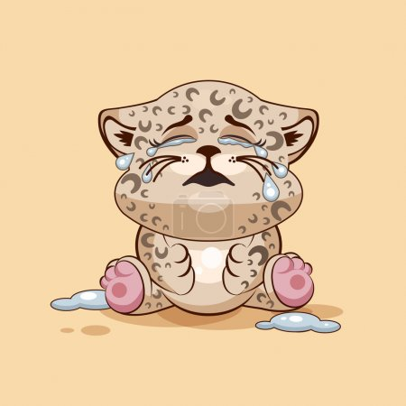 Illustration for Vector Stock Illustration isolated Emoji character cartoon Leopard cub crying, lot of tears sticker emoticon for site, info graphic, video, animation, websites, e-mails, newsletters, reports, comics - Royalty Free Image