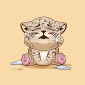 Vector Stock Illustration isolated Emoji character cartoon Leopard cub crying lot of tears sticker emoticon for site info graphic video animation websites e-mails newsletters reports comics