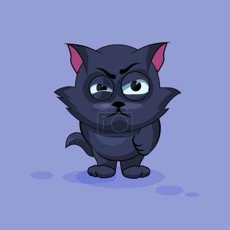 Illustration for Vector Stock Illustration isolated Emoji character cartoon black cat sticker emoticon with angry emotion for site, infographics, video, animation, websites, e-mails, newsletters, reports, comics - Royalty Free Image