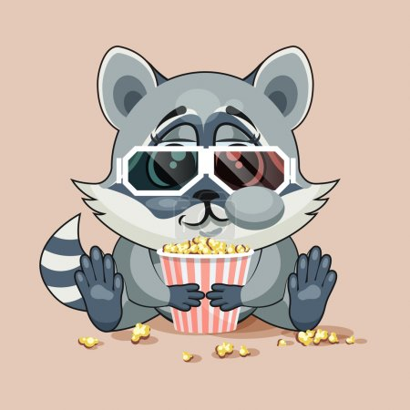 Illustration for Vector Illustration Emoji character cartoon Raccoon cub chewing popcorn, watching movie in 3D glasses sticker emoticon for site, infographic, video, animation, website, e-mail, newsletter, report, comic - Royalty Free Image