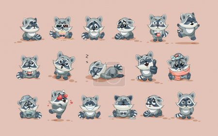 Illustration for Set Vector Stock Illustrations isolated Emoji character cartoon Raccoon cub sticker emoticons with different emotions for site, info graphic, video, animation, website, e-mail, newsletter, report - Royalty Free Image