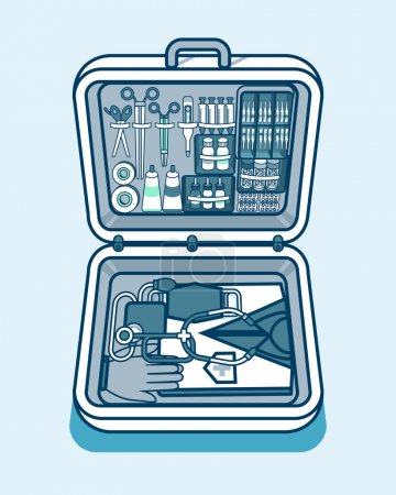 illustration of medical supplies, drugs, pills, tools, clothing in isometry line style
