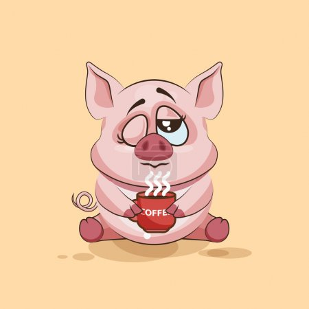 Illustration for Vector Stock Illustration isolated Emoji character cartoon Pig just woke up with cup of coffee sticker emoticon for site, infographic, video, animation, websites, e-mails, newsletters, reports, comics - Royalty Free Image
