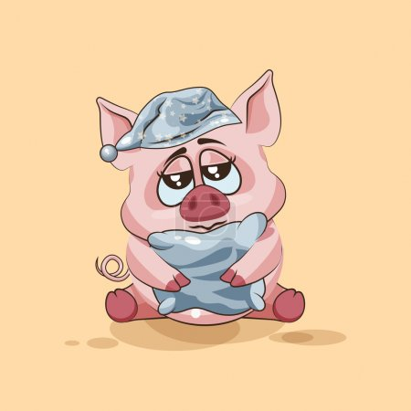 Illustration for Vector Stock Illustration isolated Emoji character cartoon sleepy Pig in nightcap with pillow sticker emoticon for site, infographics, video, animation, websites, e-mails, newsletters, reports, comics - Royalty Free Image