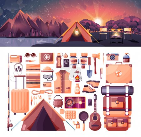 Illustration for Stock vector illustration of day landscape, mountains, sunrise, travel, hiking, nature, tent, campfire, camping, set of sports equipment for outdoor activities in flat style element for info graphic - Royalty Free Image