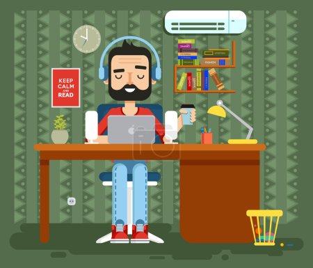 character programmer, copywriter, gamer, freelancer, designer, man in headphones with beard at home, computer flat style