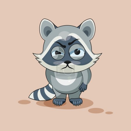 Illustration for Vector Stock Illustration isolated Emoji character cartoon Raccoon cub sticker emoticon with angry emotion for site, info graphic, video, animation, websites, e-mails, newsletters, reports, comics - Royalty Free Image