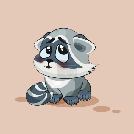 Isolated Emoji character cartoon Raccoon cub embarrassed, shy and blushes sticker emoticon