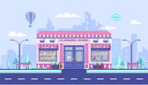 city street with Ice cream cafe in flat style