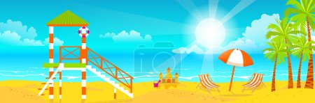 illustration of happy sunny summer day at the beach. Lifeguard tower on island with bright sun, palm trees in flat style