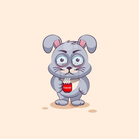 Illustration for Vector Stock Illustration isolated Emoji character cartoon Gray leveret nervous with cup of coffee sticker emoticon for site, info graphic, video, animation, websites, e-mails, newsletters, reports - Royalty Free Image