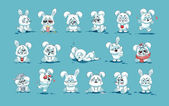 isolated Emoji character cartoon White leveret stickers emoticons with different emotions