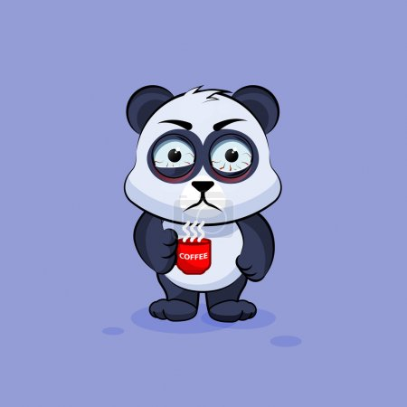 Illustration for Vector Stock Illustration isolated Emoji character cartoon Panda nervous with cup of coffee sticker emoticon for site, info graphic, video, animation, websites, e-mails, newsletters, reports, comics - Royalty Free Image