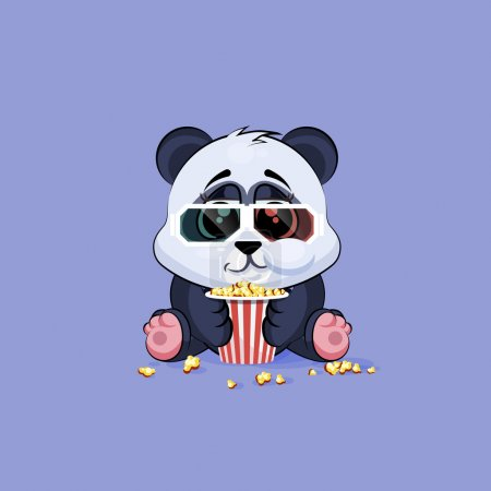 Illustration for Vector Stock Illustration Emoji character cartoon Panda chewing popcorn, watching movie in 3D glasses sticker emoticon for site, infographic, video, animation, website, e-mail, newsletter, report - Royalty Free Image