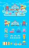 Vector illustration set elements water park outdoor water park water park with water slide entertainment in water park fountain in water park water slide at water park flat style to info graphic